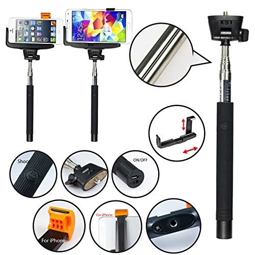 [Build-in Bluetooth Shutter] Extendable Hand Monopod Self/Selfie-Portrati Monopole Arm Pole Mount Holder for GoPro Camera Phone Clip - Universal Tripod for iPhone 4 4S 5C 5S 5, Samsung Galaxy S5